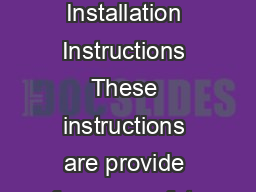 Chandelier Installation Instructions These instructions are provide for your safety