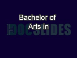 Bachelor of Arts in