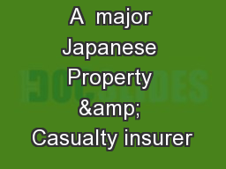 A  major Japanese Property & Casualty insurer