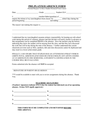 PRE-PLANNED ABSENCE FORM