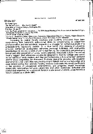 DOCUMENT RESUMEED 026 017HE 000 365By-Kampf, LouisThe Radical FacultyW