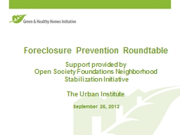 Foreclosure Prevention Roundtable