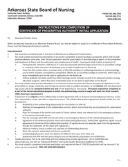 INSTRUCTIONS FOR COMPLETION OF CERTIFICATE OF PRESCRIPTIVE AUTHORITY I