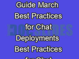 An Oracle Best Practice Guide March  Best Practices for Chat Deployments  Best Practices for Chat Deployments Introduction