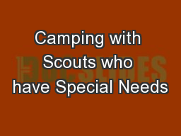 Camping with Scouts who have Special Needs