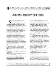 JUDGING PRESERVED Fafe food preservation can be fun,economical and per