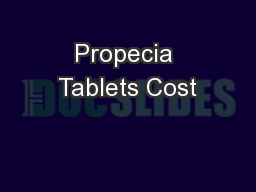 Propecia Tablets Cost