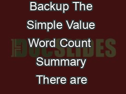 Title Online Backup The Simple Value Word Count  Summary There are many reasons