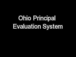 Ohio Principal Evaluation System PowerPoint PPT Presentation