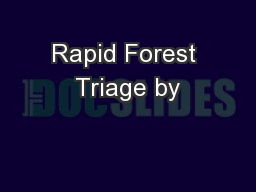 Rapid Forest Triage by