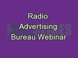 Radio Advertising Bureau Webinar
