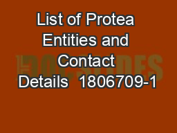 List of Protea Entities and Contact Details  1806709-1 PowerPoint PPT Presentation