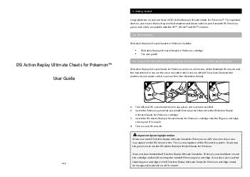 DSi Action Replay Ultimate Cheats for Pokemon User Guide V