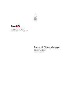 Personal Chess Manager User Guide Montreal May   MonRoi PCM User Guide MonRoi Inc    All Rights Reserved Contents Quick Start