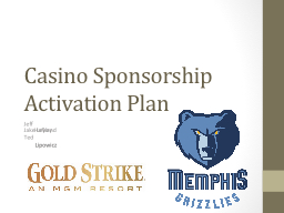 MGM Gold Strike Casino Sponsorship Activation Plan PowerPoint PPT Presentation