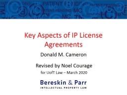 Key Aspects of IP License Agreements PowerPoint PPT Presentation