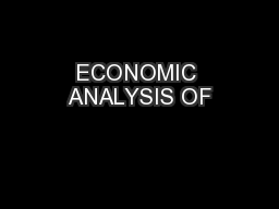 ECONOMIC ANALYSIS OF