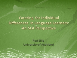 Catering for Individual Differences in Language