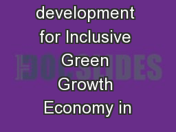 Capacity development for Inclusive Green Growth Economy in