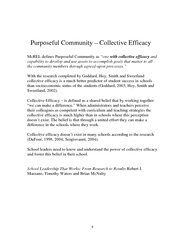 Purposeful Community – Collective Efficacy