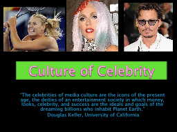 """""""The celebrities of media culture are the icons of the pr"""