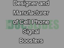 Designer and Manufacturer of Cell Phone Signal Boosters &am
