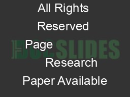 IJARCSSE All Rights Reserved Page                    Research Paper Available