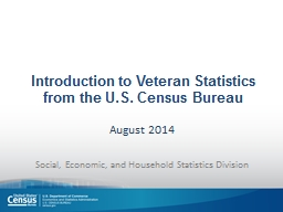 Introduction to Veteran Statistics from the U.S. Census Bur