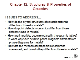 1 Chapter 12: Structures & Properties of Ceramics PowerPoint PPT Presentation