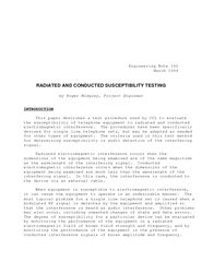Engineering Note 140March 1994RADIATED AND CONDUCTED SUSCEPTIBILITY TE