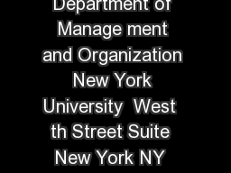Page  of  Christina Fang Department of Manage ment and Organization New York University  West  th Street Suite  New York NY  Phone  Fax  Email cfangstern PowerPoint PPT Presentation