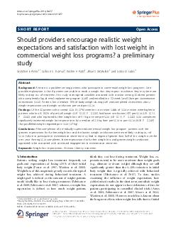 SHORT REPORT Open Access Should providers encourage realistic weight expectation