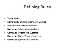 Defining Rules
