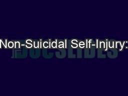 Non-Suicidal Self-Injury: