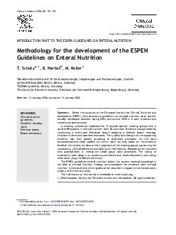 Clinical Nutrition      INTRODUCTION PART TO THE ESPEN GUIDELINES ON ENTERAL NUT
