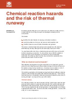 Chemical reaction hazards and the risk of thermal runaway PowerPoint PPT Presentation