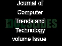 International Journal of Computer Trends and Technology volume Issue  ISSN   htt