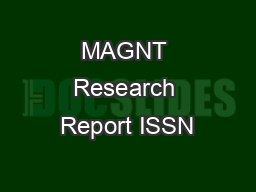 MAGNT Research Report ISSN PDF document - DocSlides