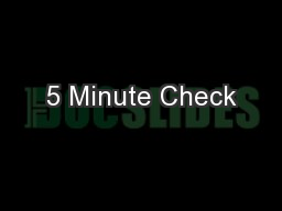 5 Minute Check PowerPoint PPT Presentation