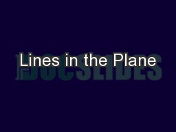 Lines in the Plane