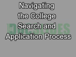 Navigating the College Search and Application Process
