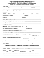 Application for Reclassification of Residence Status