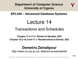 EPL446: Advanced Database Systems PowerPoint PPT Presentation