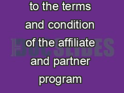 Supplement to the terms and condition of the affiliate and partner program