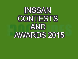 INSSAN CONTESTS AND AWARDS 2015 PowerPoint PPT Presentation