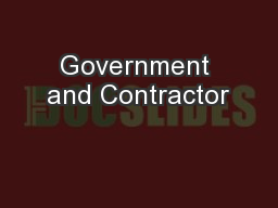 Government and Contractor PowerPoint PPT Presentation