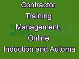 Contractor Training Management, Online Induction and Automa