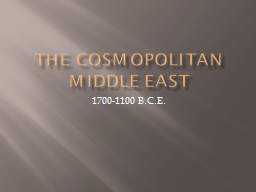 The Cosmopolitan Middle East