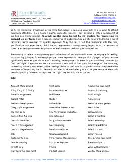 For additional resume advice or a FREE RESUME CRITIQUE  contact Martin Buckland  PDF document - DocSlides