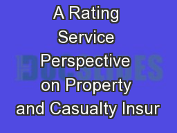 A Rating Service Perspective on Property and Casualty Insur